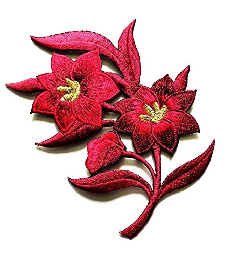 Red Jasmine Wildflowers Flowers Embroidery Applique Patch Beautiful Flowers Patch for Bags Jackets Jeans Clothes or Gift (Red Jasmine Flowers)