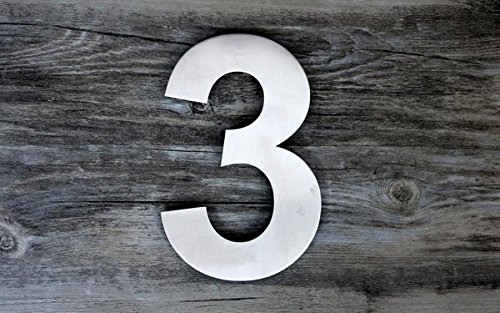 QT Modern House Number - SUPER LARGE 12 Inch - Brushed Stainless Steel (Number 3 Three), Floating Appearance, Easy to install and made of solid 304 by QT Home Decor