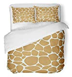 Emvency Bedsure Duvet Cover Set Closure Printed Brown Abstract Giraffe Pattern Yellow Africa African Animal Camouflage Cartoon Fauna Decorative Breathable Bedding With 2 Pillow Shams Full/Queen Size