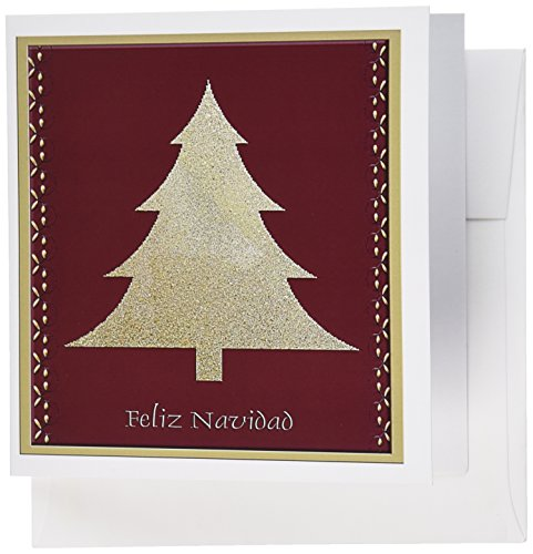 3dRose Gold Tree on Red Feliz Navidad Merry Christmas in Spanish - Greeting Cards, 6 x 6 inches, set of 12 (gc_26985_2)