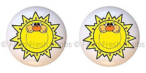 SET OF 2 KNOBS - Sunshine - Celestial - DECORATIVE Glossy CERAMIC Cupboard Cabinet PULLS Dresser Drawer KNOBS ()