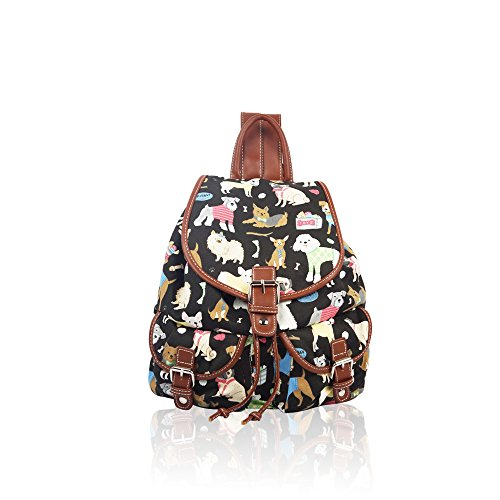 YDezire? Kid/Teenager Multi Cats Canvas Backpack Rucksack Shoulder Bag-Back To School Black/Mix Dogs