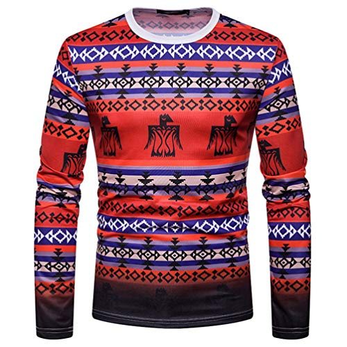 Clearance Deals Men Dashiki Sweatshirt - vermers Mens Casual African Indian Print Long Sleeve T Shirt Pullover Tops(L, Red) ()