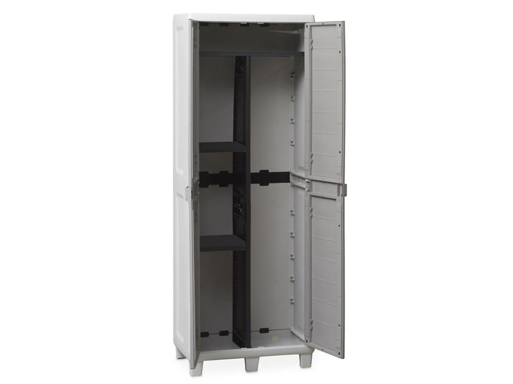 Besenhalter Grey Schrank aus Kunststoff f/ür drau/ßen//drinnen grau Holzimitation