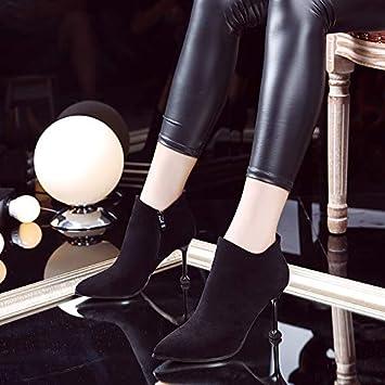 Shukun Botines Martin tacón Alto Negro señaló Botas Stiletto Gato Salvaje Zapatos de tacón Mujer otoño e Invierno Botas Cortas: Amazon.es: Deportes y aire ...