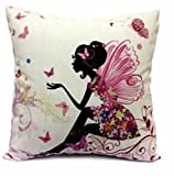 Cotton Linen Girl with Pink Wing Elves and Butterflies New Decorative Pillowcase Throw Pillow Cushion Cover Square 18'' * 18'' Home Life