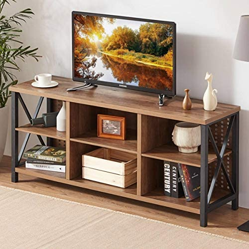 LVB TV Stand for TVs up to 65 Inch, Industrial Modern Entertainment Center for Living Room Bedroom, Mid Century Farmhouse Wood and Metal Media TV Console with Storage Shelves, Rustic Oak, 55 Inch