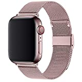 RUOQINI Compatible with Apple Watch Band 38mm 40mm, Stainless Steel Loop Replacement Wristband for iWatch Series 4/3/2/1,Rose Gold