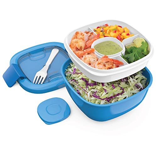 - Bentgo Salad (Blue) BPA-Free Lunch Container with Large 54-oz Salad Bowl, 3-Compartment Bento-Style Tray for Salad Toppings and Snacks, 3-oz Sauce Container for Dressings, and Built-In Reusable Fork