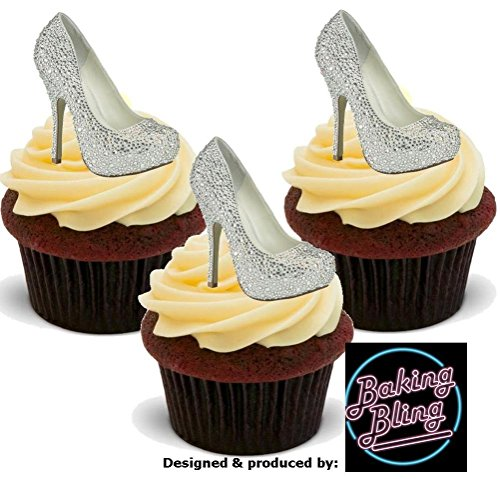 12 x Bling Diamante Silver Shoes - Fun Novelty Birthday PREMIUM STAND UP Edible Wafer Card Cake Toppers Decoration