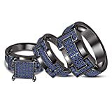TVS-JEWELS Stylish Wedding Band Ring Trio Set 925 Sterling Silver Rhodium Plated Gift For Ladies & Gents (blue sapphire)