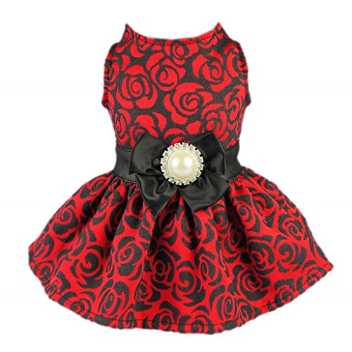 Fitwarm Elegant Rose Bowknot Belt Dog Dress for Pet Cat Coat Vest Clothes, Medium