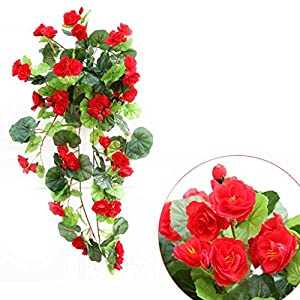 Omkuwl Artificial Silk Begonia flowers vine Hanging Plant Vine DIY Garland Home red 52