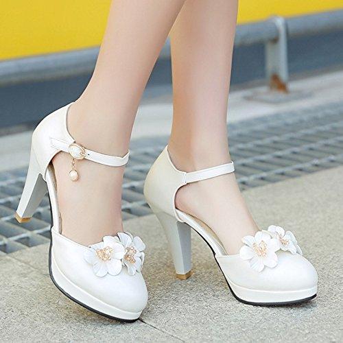 Alto Perla Sandali Elegante Fiore Beige Donna Cinturino Tacco Caviglia Taoffen Blocco Fibbia Alla vBqnw40