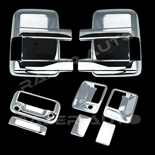 Tailgate 08 Chrome - Razer Auto Triple Chrome Plated Mirror, 2 Door Handle without Passenger Keyhole, Tailgate Handle with Camera Hole Cover for 08-15 Ford F250+F350+F450 Super Duty