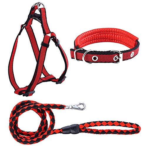 Pet Dog Leash Harness Collar Set,Durable Nylon Braided Leash No Pulling or Choking Adjustable Vest Harness Soft Padded Collar Safety Leads for Small Medium Large Dog Puppy Cat Training Walking Running ()