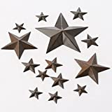 Package of 42 Assorted Size Rustic Tin Barn Stars for Embellishing, Crafts, and More