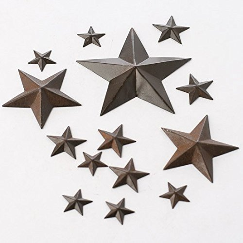 Package of 42 Assorted Size Rustic Tin Barn Stars for