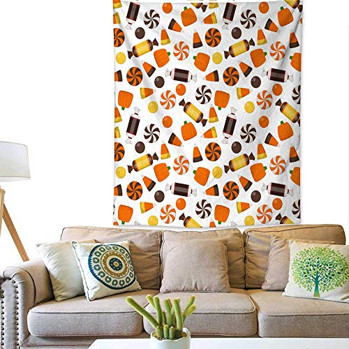 BlountDecor Simple Tapestry Halloween Candy Seamless Pattern 60W x 80L INCH