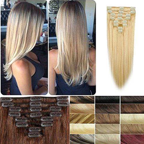 FUT Women Real Thick Double Weft Huamn Hair Extension Clip in (16-22inch)