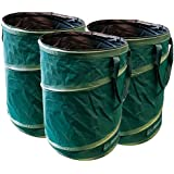 GloryTec Pop-Up garden bag set 3 x 170 liters - Self-erecting garden waste bags made of extremely robust polyester Oxford 600D - Premium Pop-Up self-standing and foldable leaves bag