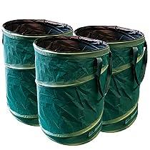 GloryTec Pop-Up Gartensack 3 x 170 Liter | Selbstaufstellende Gartenabfallsäcke aus extrem robustem Polyester Oxford 600D | Premium Laubsack-Set selbststehend, stabil und faltbar