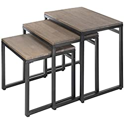 MyGift Set of 3 Brown Wood Nesting End Tables with Black Metal Frame