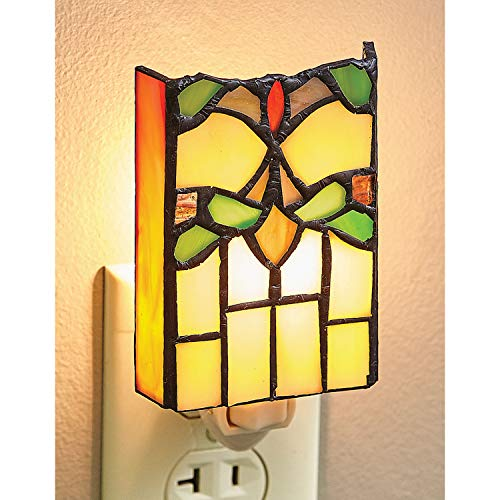(Victorian Trading Art Deco Stained Glass Floral Nightlight - Plug in Accent Lamp)