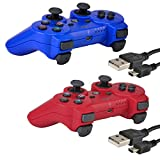 2 Pack Bluetooth Wireless Controller for PS3 Controller Double Shock Gamepad 6-Axis Game Controller for PlayStation 3 Bonus 2 Charging Cable by Kabi(Red+Blue) For Sale
