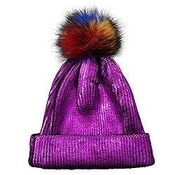 Purple-C Sequin Beanie Hat with Faux Fur