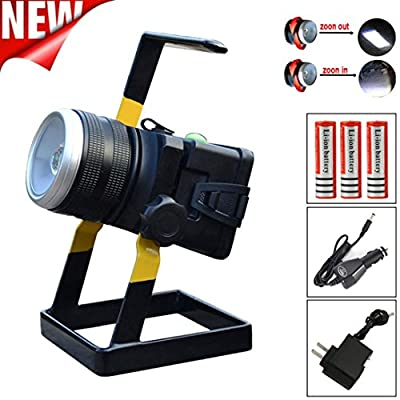 Caravan Camping Lamp,Tuscom@ Rechargeable 3500LM L2 LED?CREE XML- T6? Floodlight Work Light (Zoom Mode)