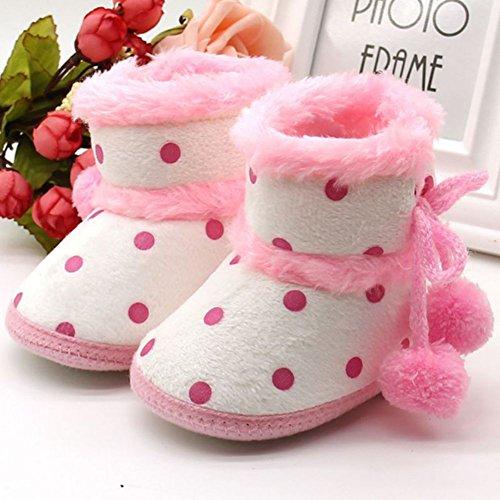 ESHOO Toddler Bebé Botines de Nieve en invierno suave Sole Casual Cálido Para Cuna zapatos flecos marrón Brown 1 Talla:6-12 meses Pink 1