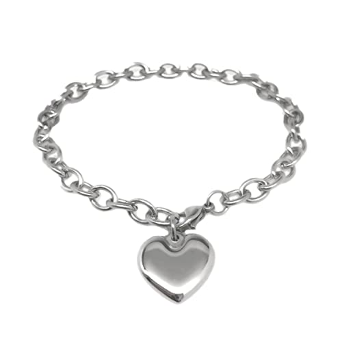 Amazon Com Womens Stainless Steel Heart Charm Chain Bracelet