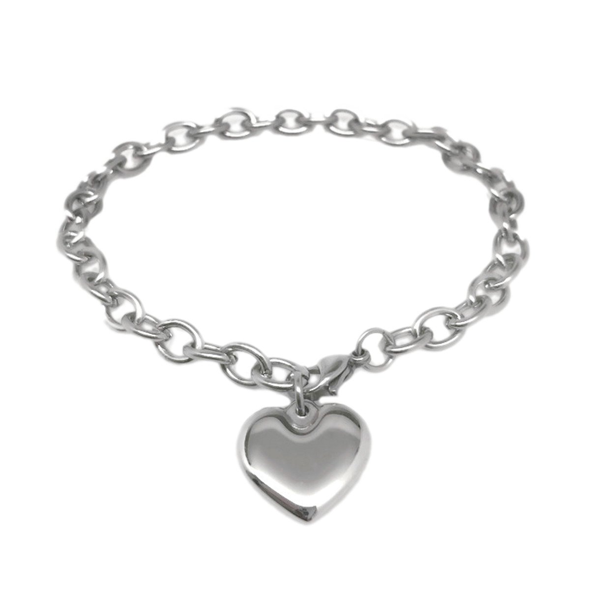 Womens Stainless Steel Heart Charm Chain Bracelet Adjustable (7.5 - 8 Inch)