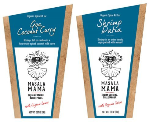 Gourmet Organic Indian Spice Kit Gift Set - Masala Mama - Goa Coconut Curry & Shrimp Patia - 1oz SET - 1 Kit Serves 4 People - SET OF 2 SPICE KITS