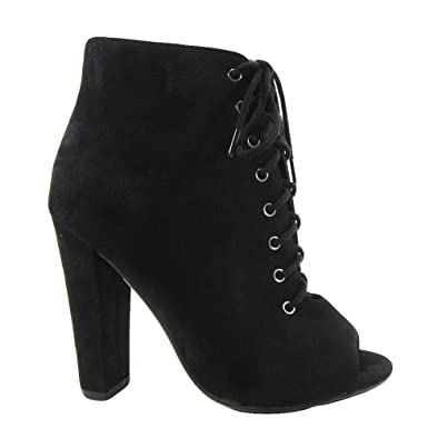 Women Nubuck Peep Toe Lace Up Thick Heel Bootie MVE Shoes