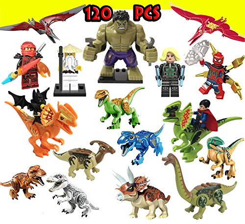 (New & Luxury Dinosaurs Building Blocks Figures Toys, Super Hero Ninjago Marvel Sets 7 Superhero Figures Superman Batman Hulk DIY Building Block Action Figures,Educational Gift for Kids(19)