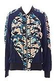 Rebecca Minkoff Women's Graphic Silk Zip Up Nolan Jacket Sz X-Small Navy / Camel