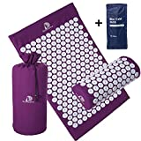 Acupressure Mat and Pillow Massage Set - by DoSensePro + Bonus Hot and Cold Gel Pack. Acupuncture Floor Pad with Pouch Tote Bag. Relieve Sciatic, Back, Neck, Headaches and Pain at Pressure Points.