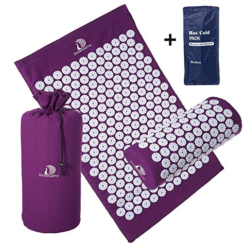 Large Acupressure Mat and Pillow Massage Set - by DoSensePro + Bonus Hot/Cold Gel Pack. Acupuncture Floor Pad with Pouch Tote Bag. Relieve Sciatic, Back, Neck, Headaches and Pain at Pressure Points. (Pressure Points On Body To Relieve Headache)