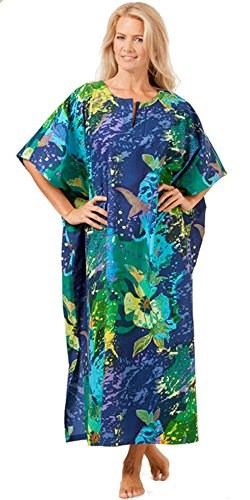 100% Cotton Lounger Caftan By Peppermint Bay in Tropical Burst (One Size Fits Most, Tropical Burst)