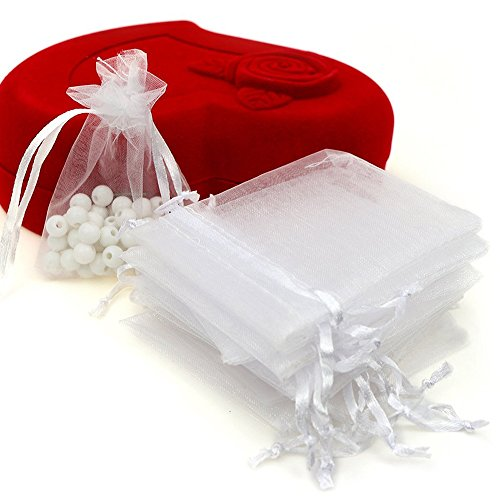 Shape Organza Favor Bags - Organza Bags 100pcs 4 x 6 Inch Gift Bags Organza Drawstring Pouch Jewelry Party Wedding Favor Party Festival Gift Bags Candy Bags (White)