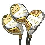 Japan Epron TRG Hybrids Golf Club Wood Set + Leather Cover(16,19,22 Degree Loft,Regular Flex,Grip Standard,Pack of 3)