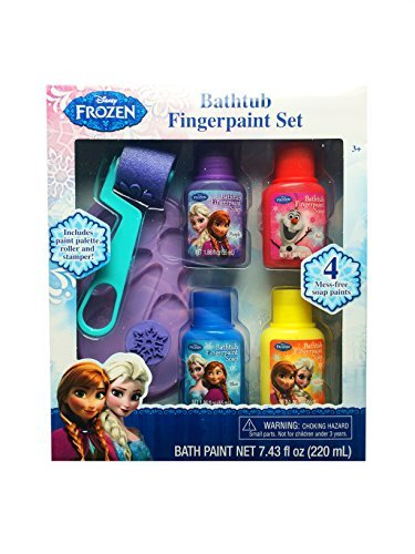 Disney Frozen Bathtub Fingerpaint Set - Mess Free Soap Paints - Includes Palette Roller and Stamper