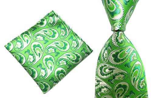 - Men's Women Boys Green Paisley Neckties Matching Pocket Square Handkerchief Set
