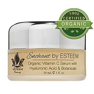 Organic Vitamin C Serum w/ Hyaluronic Acid Enchant by Esteem - Anti Aging Serum & Eye Cream - Get Rid of Age Spots & Get Rid of Wrinkles - The Best Eye Wrinkle Cream & Organic Skin Care Products