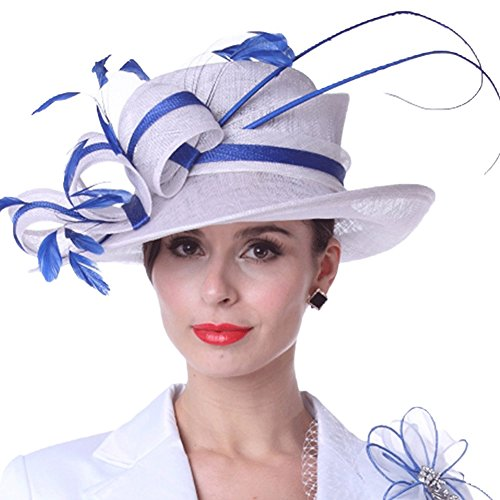 c8fc92edfc9 Kueeni Women Sun Hats Feathers White Blue Color Lady Weddding Dress Wear