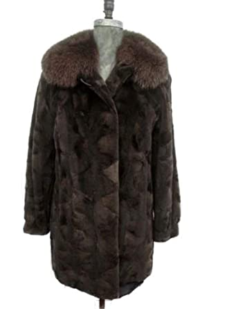 93a40b9d95336 Image Unavailable. Image not available for. Color: Women's Sz 12/14 New  Brown Sheared MInk Fur Coat Jacket Stroller ...