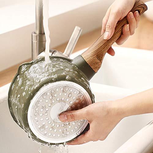 Milk Pot Enamel Sauce Pan Healthy Enameled Inside Coating Iron Milk Pan And Butter Warmer With Wooden Handle Handy Pot Saucepans (Color : Green, Size : 16cm)