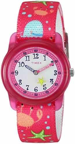 Timex Girls TW7C13600 Time Machines Analog Pink Sea Elastic Fabric Strap Watch
